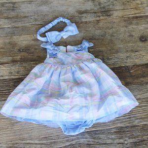 Plaid Dress & Headband Easter Dress Gymboree 3M